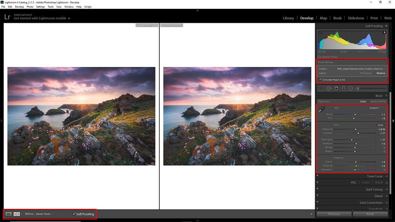 So einfach geht ein Softproof in Adobe Lightroom.